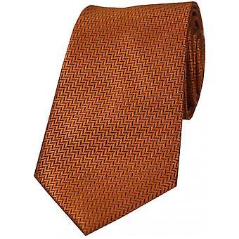 David Van Hagen Herringbone Silk Tie - Rust Brown