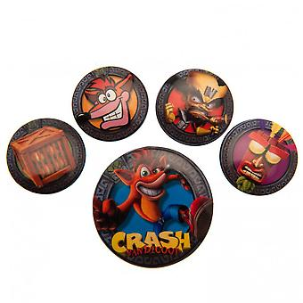 Official Crash Bandicoot Button Badge Set (Pack Of 5)