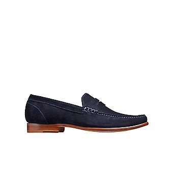 Barker sko William en Lockstitch Moccasin dag driver skinn Dark Navy Suede