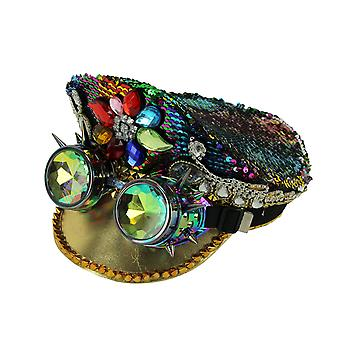 Fashion Forces Rainbow Sequin Peaked Cap and Goggles Adult Halloween Costume Hat