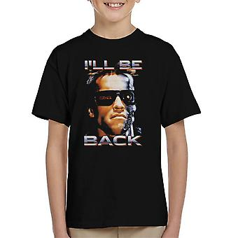 The Terminator Arnie Close Up Glasses Ill Be Back Kid's T-Shirt