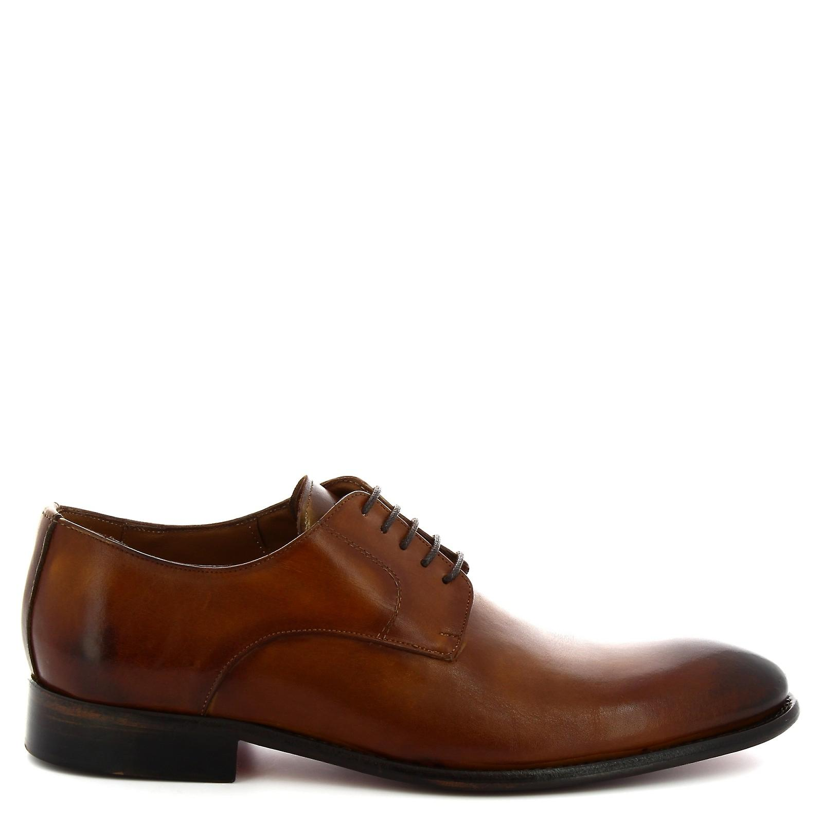 Leonardo Shoes Men's handmade round toe lace up derby shoes tan calf leather