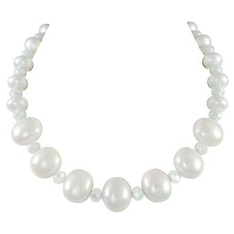 Eternal Collection Highgrove White Shell Pearl And Crystal Statement Necklace (en)