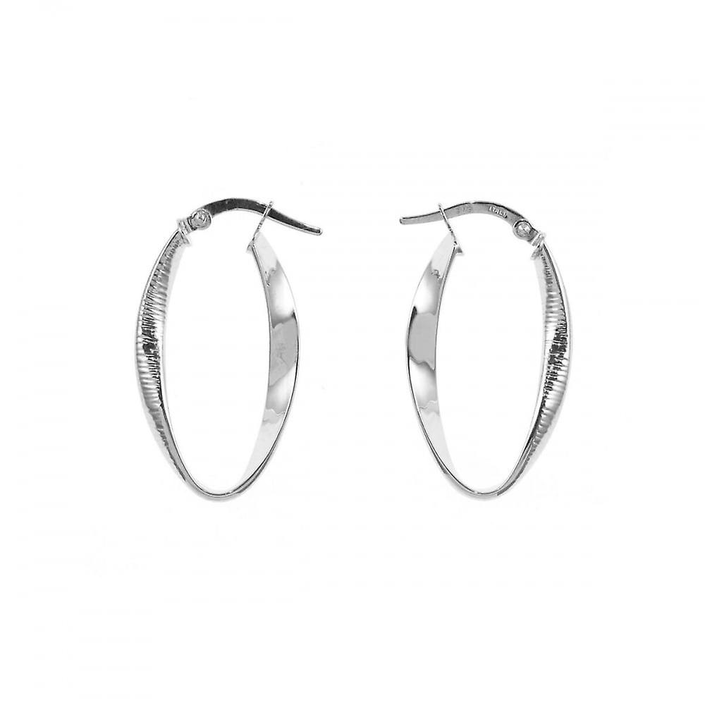 Eternity 9ct White Gold Oval Twisted Creole Hoop Earrings