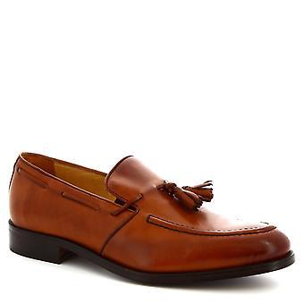 Leonardo schoenen mannen handgemaakte kwast loafers schoenen in Tan kalf leder