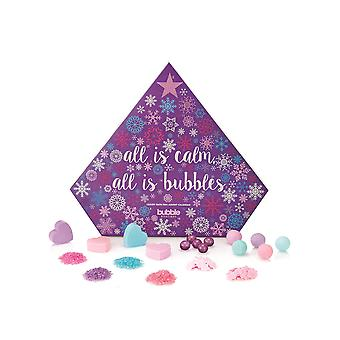 Style & Grace Bubble Boutique Bath Advent Calendar - 5 x 40g Bath Fizzers, 5 x 4g Bath Pearls, 5 x 16g Bath Confetti, 5 x 30g Bath Salts and 4 x 30g Bath Soaps