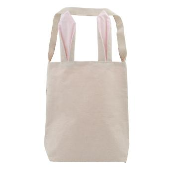 TRIXES Easter Pink Bunny Ears Canvas Carry Bag Party Rabbit Fun Accessory