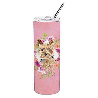 Yorkie Pink Flowers Double Walled Stainless Steel 20 oz Skinny Tumbler