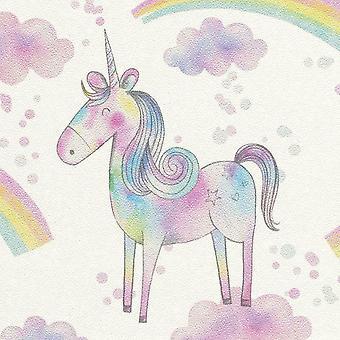 Magical Unicorn Wallpaper Girls Metallic Pink Blue Horse Pony Rainbow Rasch