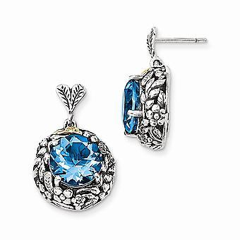 925 sterlinghopeaa 14k sininen topaz post pitkä pudota dangle korvakorut korut lahjat naisille