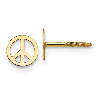 14k Polished Screw back Gold 4k Peace Sign Screw back Earrings Jewelry Gifts for Women - .2 Grams