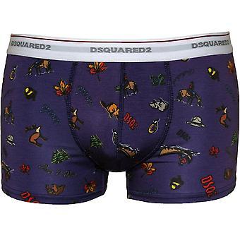 DSquared2 Canada Logo Graphics Print Boxer Trunk, Purple