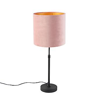 QAZQA Table lamp black with velor shade pink with gold 25 cm - Parte