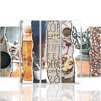 Vijf deel foto op canvas, Pentaptych, type B, koffie-fotocollages