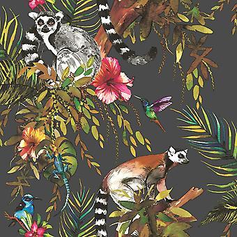 Lemur wallpaper preto e multi mundo de papel de parede 50160