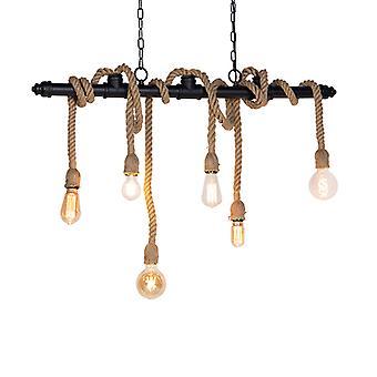 QAZQA Industrial Pendant Lampe 6 Schwarz mit Rope-Plural