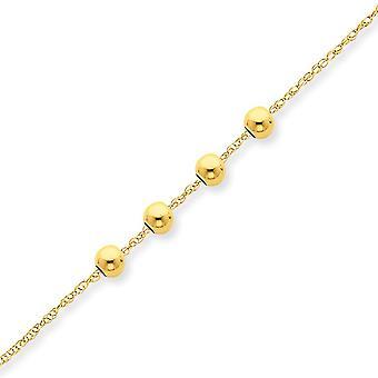 14 k geel gouden gepolijst springslot met 4 4mm parel ketting -.8 gram - 18 Inch