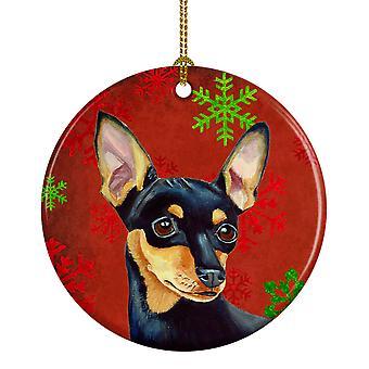 Min Pin Red Snowflake Holiday Christmas Ceramic Ornament LH9335