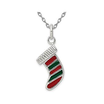Sterling Silver Christmas Stocking Charm Pendant Necklace with Chain