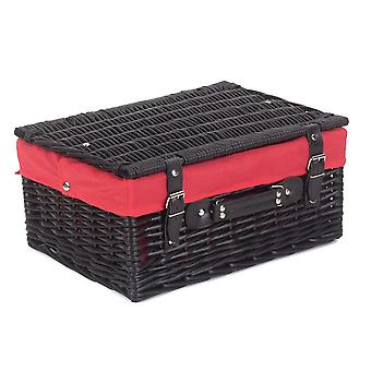 41cm Empty Black Willow Picnic Basket With Red Lining