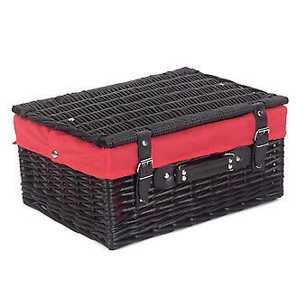 41cm tom svart vide picknickkorg med rött foder