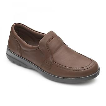 Padders Leo Mens Leather Wide (g/h) Loafers Dark Tan