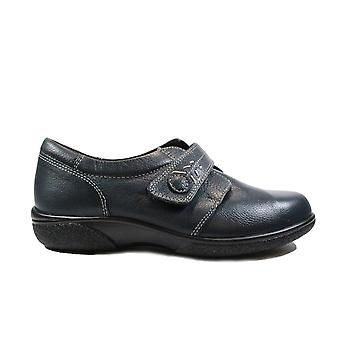 Fácil B Healey 4E Navy Leather Womens Wide Fit Rip Tape Shoes
