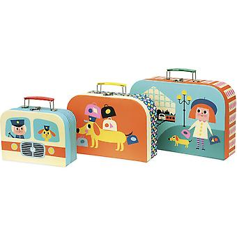 Vilac Set of Three Cardboard Nesting Suitcases