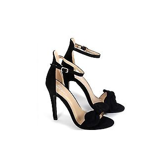 Onlineshoe Bow Detailed Stiletto Sandal -  Ankle Strap - Black Suede , White Pu , Pink Suede