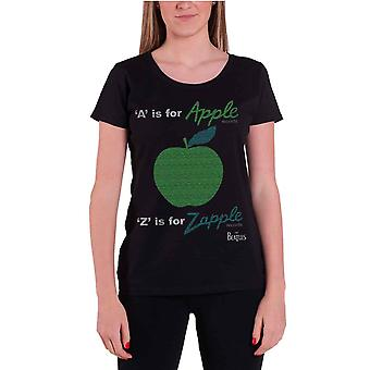 The Beatles A Is For Apple Official Womens New Black Skinny Fit T Shirt