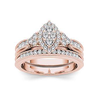Igi certified 10k rose gold 0.50 ct diamond vintage engagement ring set