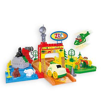 Mochtoys Kids Toy Zoo Set 10670 with Helicopter, Car, Animals, Road