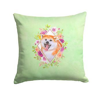 Carolines Treasures  CK4271PW1414 Akita Green Flowers Fabric Decorative Pillow
