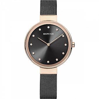 Uhr Bering 12034-166 - helles rosa gold Stahl schwarzes Zifferblatt mit Swarovski schwarz Mailänder Stahl Armband