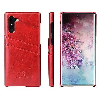 Pour Samsung Galaxy Note 10 Case Red Deluxe PU Leather Back Shell Wallet Cover