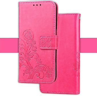 For iPhone XS Max Case Magenta Embossed Pattern PU,TPU Folio-Style Leather Cover
