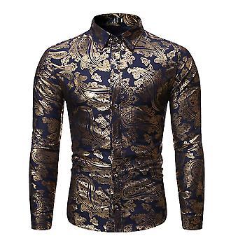 Allthemen män ' s blommig klänning skjorta guld mönster tryckknapp ner skjortor