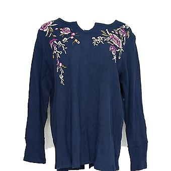 Style & Co. Women's Plus Top Fake Henley Long Sleeve Embroidments Blue #1