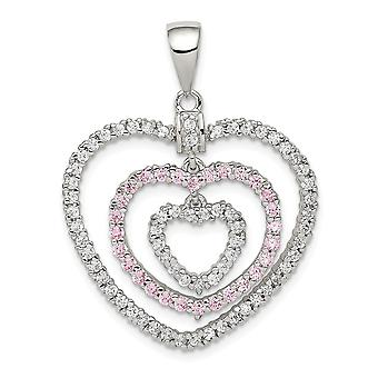 925 Sterling Silver Polished Pink White CZ Cubic Zirconia Simulated Diamond Love Hearts Pendant Necklace Jewelry Gifts f
