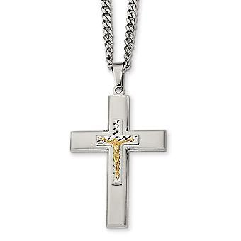 Roestvrij staal gepolijst geel ip verguldkruisige kruisband ketting 24 Inch sieraden geschenken voor vrouwen