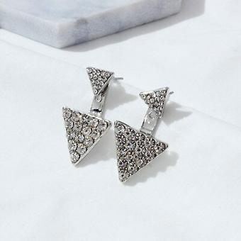 Double Triangle Silver Crystal Earrings