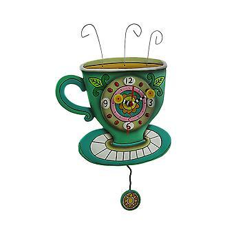 الين التصاميم مشمس فنجان قهوة بندول ساعة الحائط
