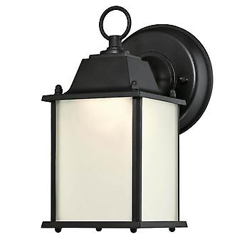 Westinghouse Dimbare LED Outdoor Wall Light Fitting Black Lantern met Frosted Opal Glass