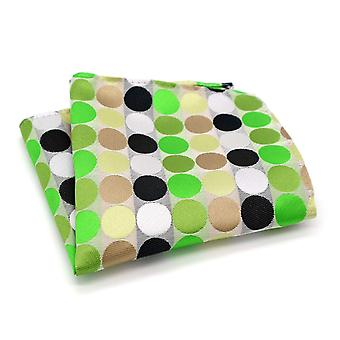 Green white black brown & oat polka dot pocket square
