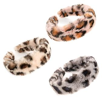 4cm Ladies Chunky Faux Fur Animal Print Alice Band