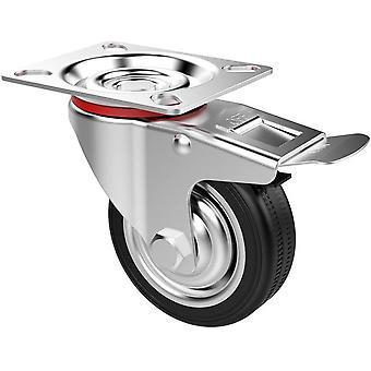 4 x heavy duty 75mm svingbare hjulmøbler gummi tralle med bremser