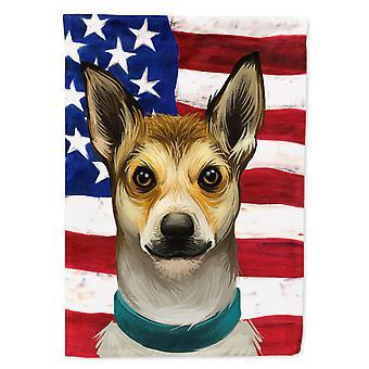 Norwegian Lundehund Dog American Flag Flag Garden Size