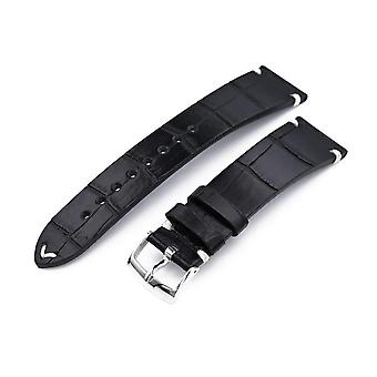 Strapcode alligator watch strap 20mm, 21mm or 22mm miltat genuine american alligator square scale, semi matte black watch strap