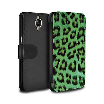 STUFF4 PU Leather Wallet Flip Case/Cover for OnePlus 3/3T/Green/Leopard Animal Skin/Print