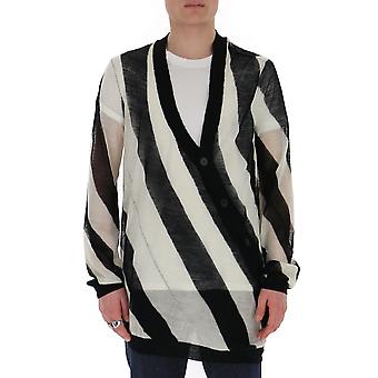 Ann Demeulemeester 20014008258098 Uomini's Bianco/nero Cotton Cardigan